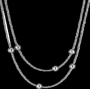 Halskette Gellner Big Bang aus 925 Sterlingsilber mit 6 Tahiti-Perlen und mehreren Hämatiten