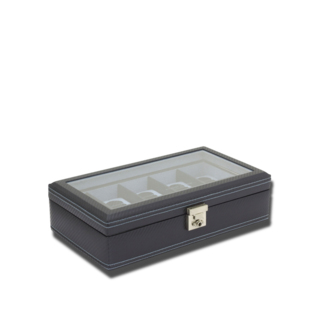 Friedrich Uhrenbox mit Sichtfenster Carbon 10 - Dunkelblau 70021-436