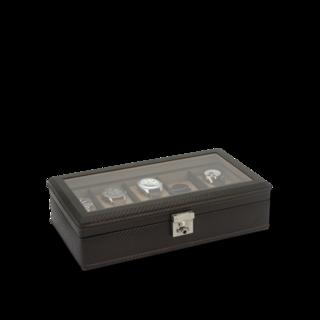 Friedrich Uhrenbox mit Sichtfenster Carbon 10 - Dunkelbraun 70021-437