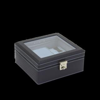 Friedrich Uhrenbox mit Sichtfenster LED Carbon - Dunkelblau 70021-443