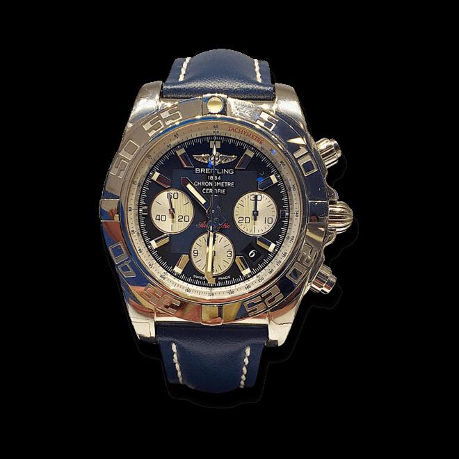 Herrenuhr Breitling Chronomat 44 mit schwarzem Zifferblatt und Kalbsleder-Armband