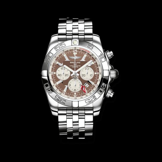 Herrenuhr Breitling Chronomat GMT mit braunem Zifferblatt und Edelstahlarmband