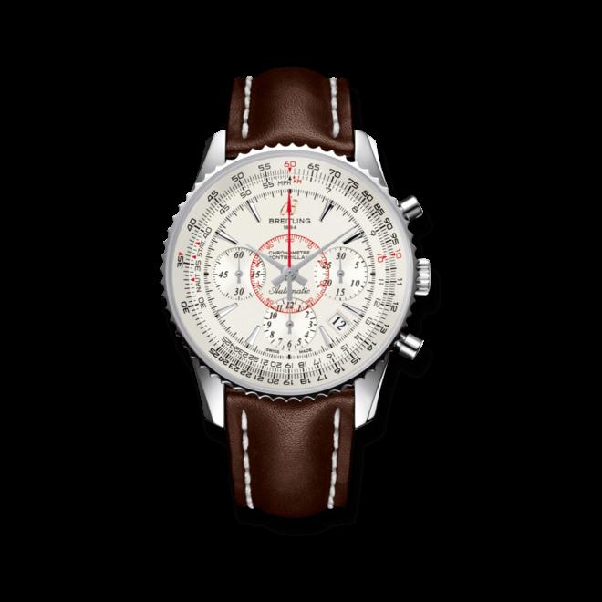 Herrenuhr Breitling Montbrillant 01 mit silberfarbenem Zifferblatt und Kalbsleder-Armband