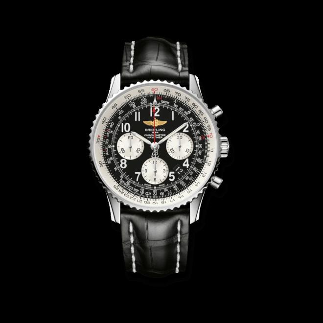 Herrenuhr Breitling Navitimer 01 mit schwarzem Zifferblatt und Krokodilleder-Armband