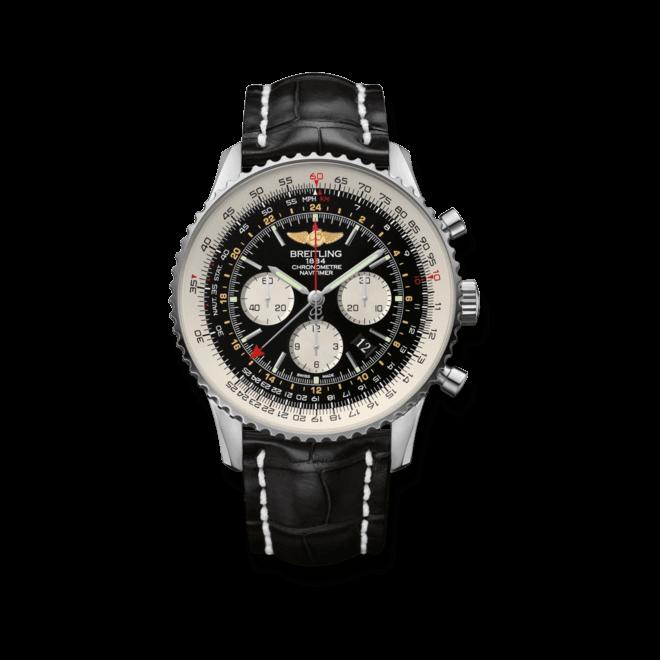 Herrenuhr Breitling Navitimer GMT mit schwarzem Zifferblatt und Krokodilleder-Armband