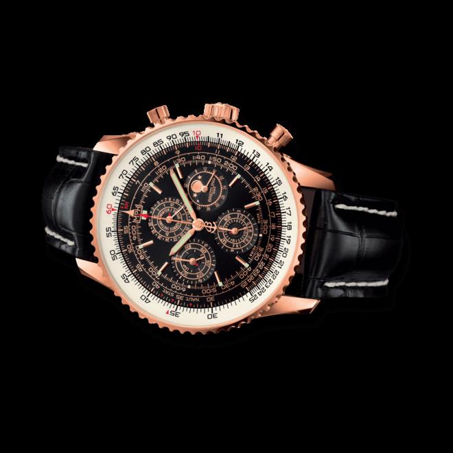 Herrenuhr Breitling Navitimer QP mit schwarzem Zifferblatt und Krokodilleder-Armband