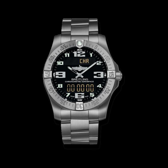 Herrenuhr Breitling Aerospace Evo mit schwarzem Zifferblatt und Titanarmband