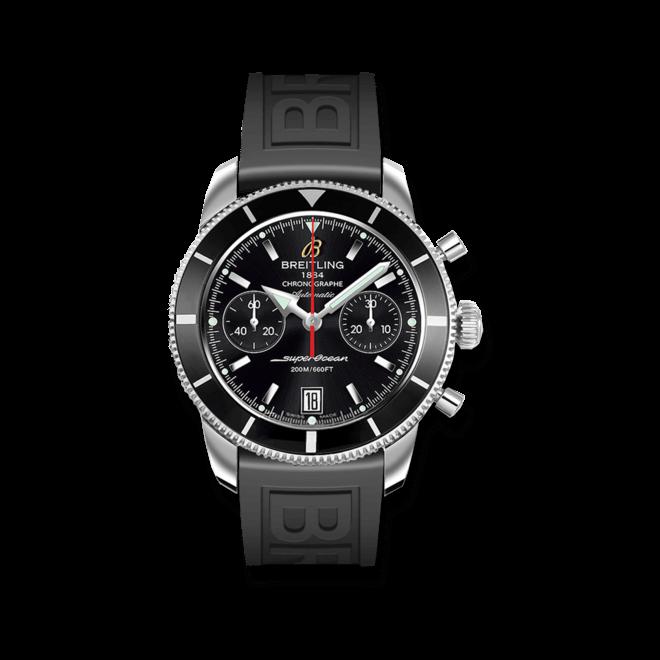 Herrenuhr Breitling Superocean Héritage Chronographe 44 mit schwarzem Zifferblatt und Kautschukarmband