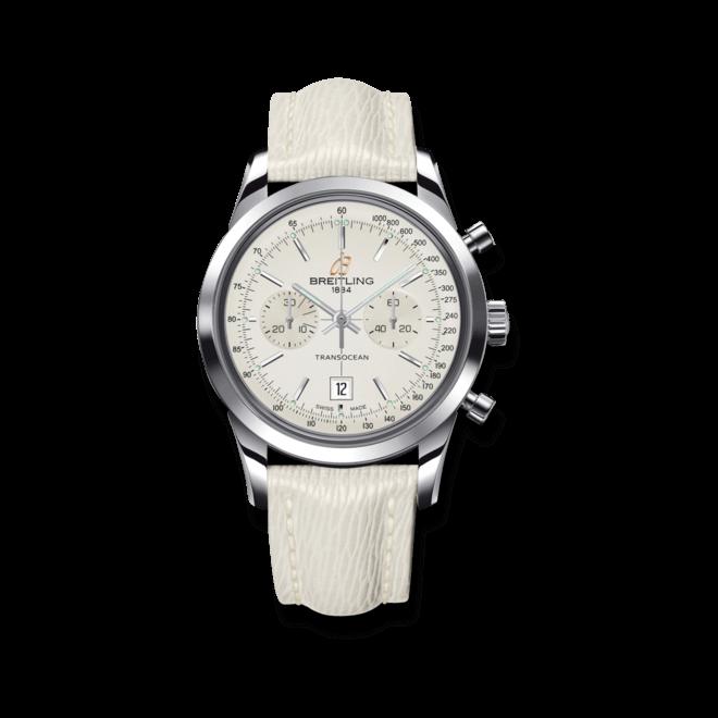 Damenuhr Breitling Transocean Chronograph 38 mit weißem Zifferblatt und Kalbsleder-Armband