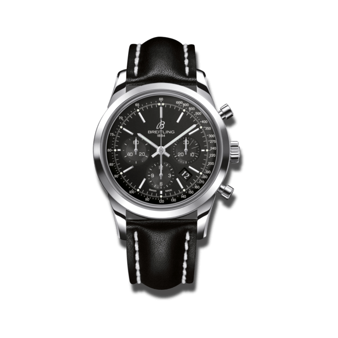 Herrenuhr Breitling Transocean Chronograph mit schwarzem Zifferblatt und Kalbsleder-Armband