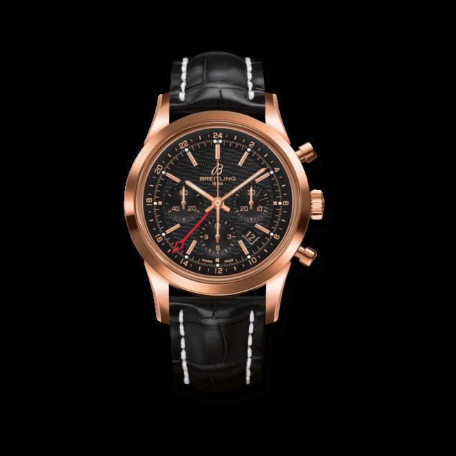 Herrenuhr Breitling Transocean Chronograph GMT Limited Edition mit schwarzem Zifferblatt und Krokodilleder-Armband