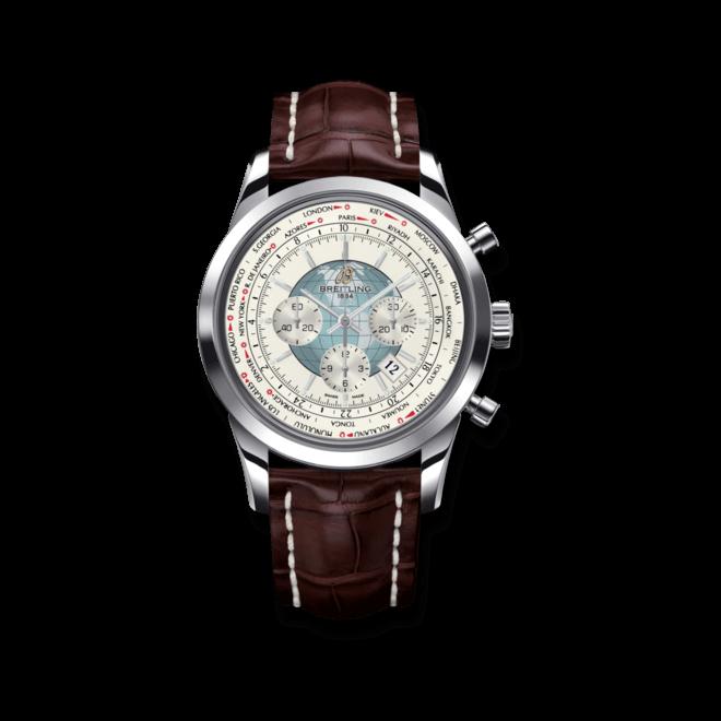 Herrenuhr Breitling Transocean Chronograph Unitime mit weißem Zifferblatt und Krokodilleder-Armband