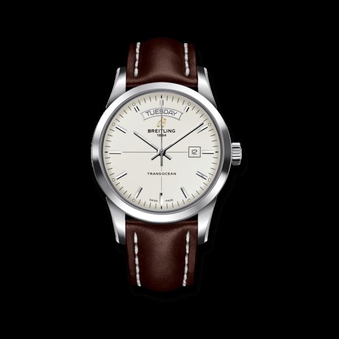 Herrenuhr Breitling Transocean Day & Date mit silberfarbenem Zifferblatt und Kalbsleder-Armband