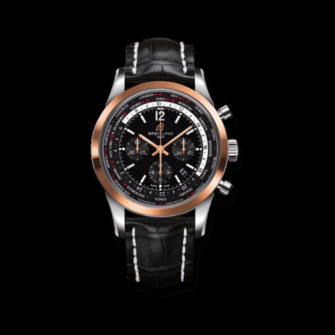 Herrenuhr Breitling Transocean Unitime Pilot mit schwarzem Zifferblatt und Krokodilleder-Armband