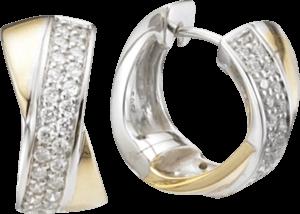 Creole Brogle Atelier Intense Brilliance aus 585 Gelbgold und 585 Weißgold mit mehreren Diamanten (2 x 0,26 Karat)