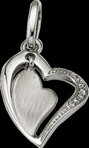 Anhänger Brogle Atelier Herz aus 925 Sterlingsilber mit weißem Zirkonia