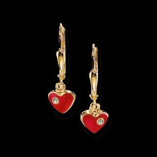 Brogle Atelier Ohrhänger Rote Herzen C316-055