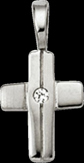 Anhänger Brogle Atelier Kreuz aus 925 Sterlingsilber mit 1 weißem Zirkonia
