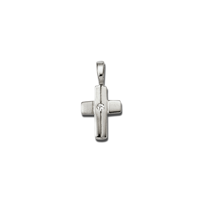 Anhänger Brogle Atelier Kreuz aus 925 Sterlingsilber mit 1 weißem Zirkonia bei Brogle