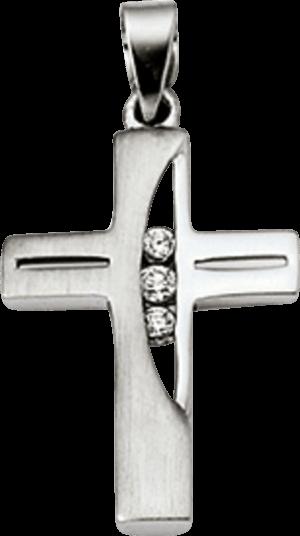 Anhänger Brogle Atelier Kreuz aus 925 Sterlingsilber mit 3 weißen Zirkoniasteinen