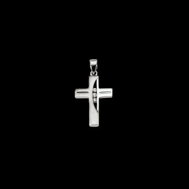 Anhänger Brogle Atelier Kreuz aus 925 Sterlingsilber mit 3 weißen Zirkoniasteinen bei Brogle