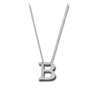 Brogle Selection Halskette mit Anhänger Basic Buchstabe B 4A429W4