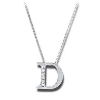 Brogle Selection Halskette mit Anhänger Basic Buchstabe D 4A431W4-1