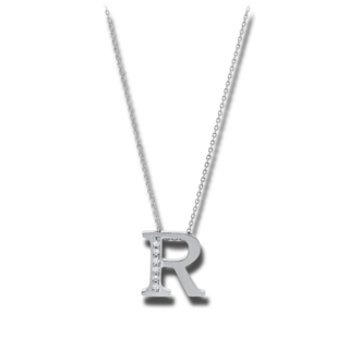Brogle Selection Halskette mit Anhänger Basic Buchstabe R 4A444W4