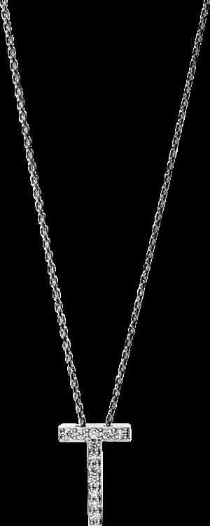 Halskette mit Anhänger Brogle Selection Basic Buchstabe T aus 585 Weißgold mit 12 Brillanten (0,06 Karat)