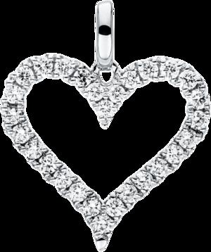 Anhänger Brogle Selection Basic Herz aus 750 Weißgold mit 28 Brillanten (0,2 Karat)