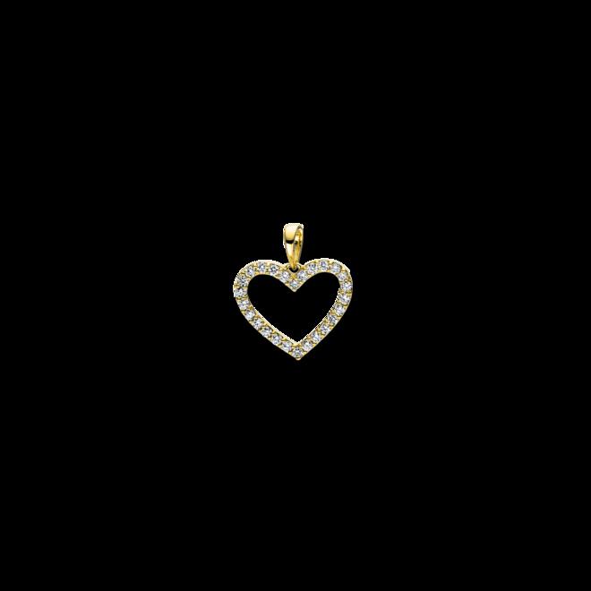 Anhänger Brogle Selection Basic Herz aus 750 Gelbgold mit 26 Brillanten (0,25 Karat) bei Brogle