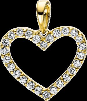 Anhänger Brogle Selection Basic Herz aus 750 Gelbgold mit 26 Brillanten (0,25 Karat)