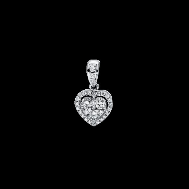 Anhänger Brogle Selection Basic Herz aus 750 Weißgold mit 32 Brillanten (0,42 Karat) bei Brogle