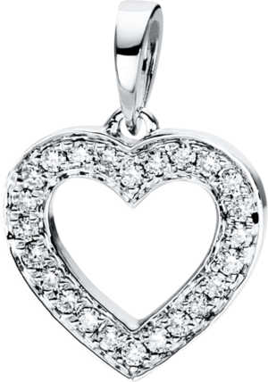 Anhänger Brogle Selection Basic Herz aus 750 Weißgold mit 24 Brillanten (0,11 Karat)