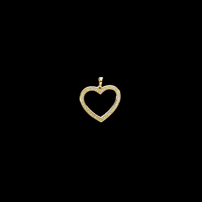 Anhänger Brogle Selection Basic Herz aus 750 Gelbgold mit 50 Brillanten (0,24 Karat) bei Brogle