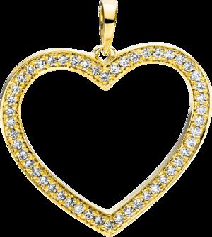 Anhänger Brogle Selection Basic Herz aus 750 Gelbgold mit 50 Brillanten (0,24 Karat)