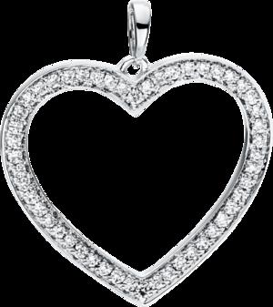 Anhänger Brogle Selection Basic Herz aus 750 Weißgold mit 50 Brillanten (0,24 Karat)