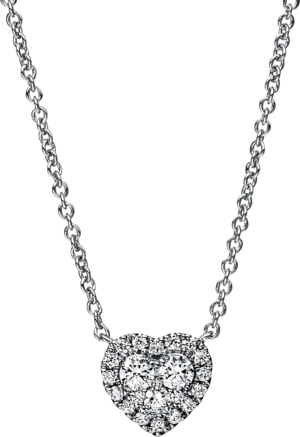 Halskette mit Anhänger Brogle Selection Basic Herz aus 750 Weißgold mit 22 Brillanten (0,28 Karat)