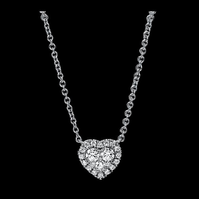 Halskette mit Anhänger Brogle Selection Basic Herz aus 750 Weißgold mit 22 Brillanten (0,28 Karat) bei Brogle