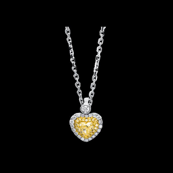 Halskette mit Anhänger Brogle Selection Basic Herz aus 750 Weißgold und 750 Gelbgold mit 44 Diamanten (1,63 Karat) bei Brogle