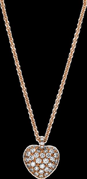 Halskette mit Anhänger Brogle Selection Basic Herz aus 750 Roségold mit 52 Brillanten (0,71 Karat)
