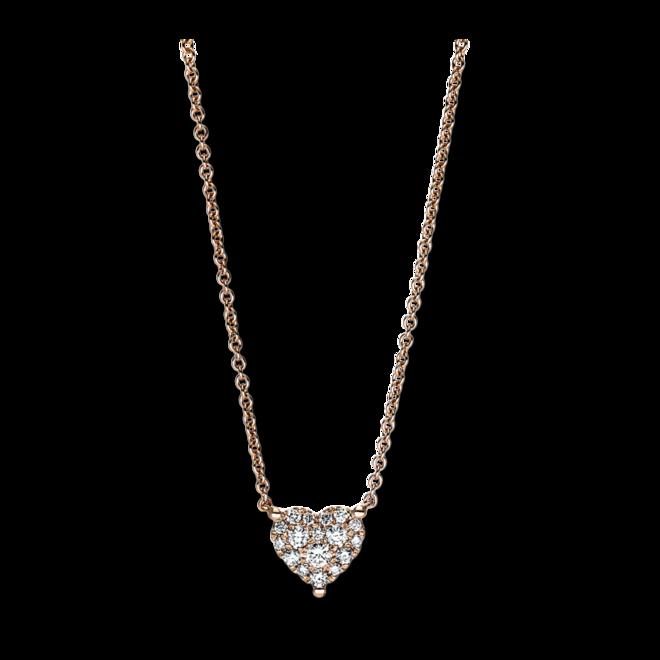 Halskette mit Anhänger Brogle Selection Basic Herz aus 750 Roségold mit 17 Brillanten (0,21 Karat) bei Brogle