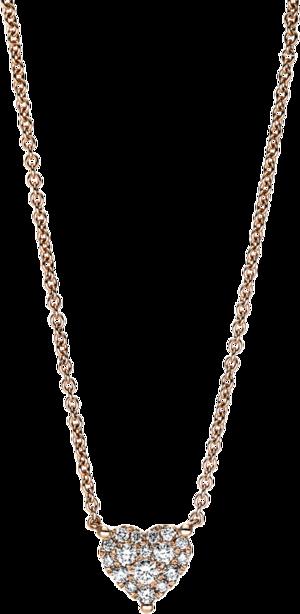 Halskette mit Anhänger Brogle Selection Basic Herz aus 750 Roségold mit 17 Brillanten (0,21 Karat)