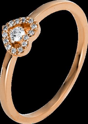 Ring Brogle Selection Basic Herz aus 750 Roségold mit 15 Brillanten (0,1 Karat)