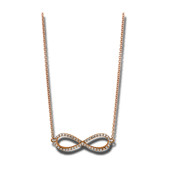 Halskette mit Anhänger Brogle Selection Basic Infinity aus 585 Roségold mit 45 Brillanten (0,18 Karat) bei Brogle