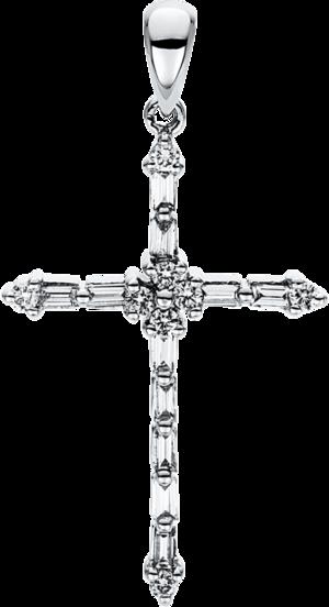 Anhänger Brogle Selection Basic Kreuz aus 750 Weißgold mit 19 Brillanten (0,3 Karat)