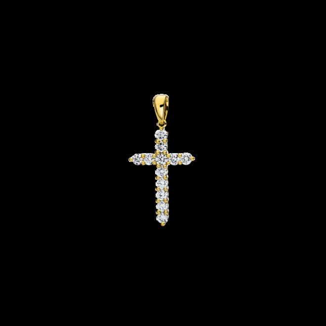 Anhänger Brogle Selection Basic Kreuz aus 750 Gelbgold mit 12 Brillanten (0,82 Karat) bei Brogle