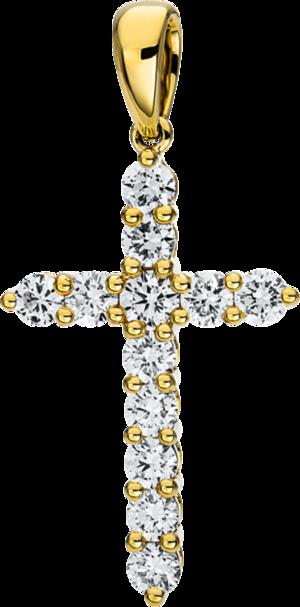 Anhänger Brogle Selection Basic Kreuz aus 750 Gelbgold mit 12 Brillanten (0,82 Karat)