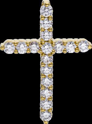 Anhänger Brogle Selection Basic Kreuz aus 750 Gelbgold mit 16 Brillanten (0,71 Karat)
