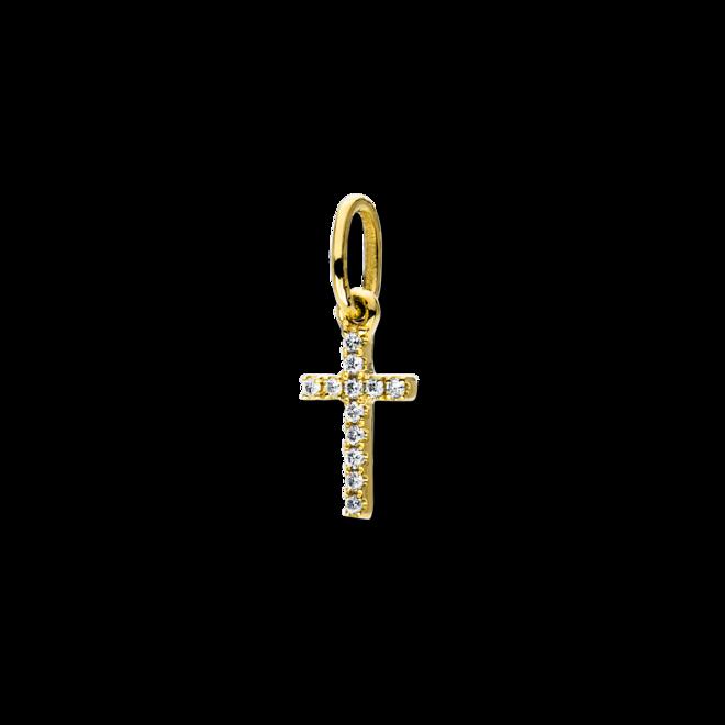 Anhänger Brogle Selection Basic Kreuz aus 750 Gelbgold mit 12 Brillanten (0,02 Karat) bei Brogle